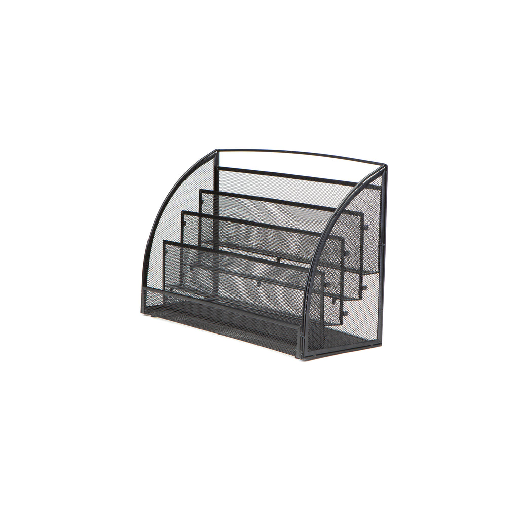 4 Pocket Metal Mesh Newspaper and Magazine Rack, Black