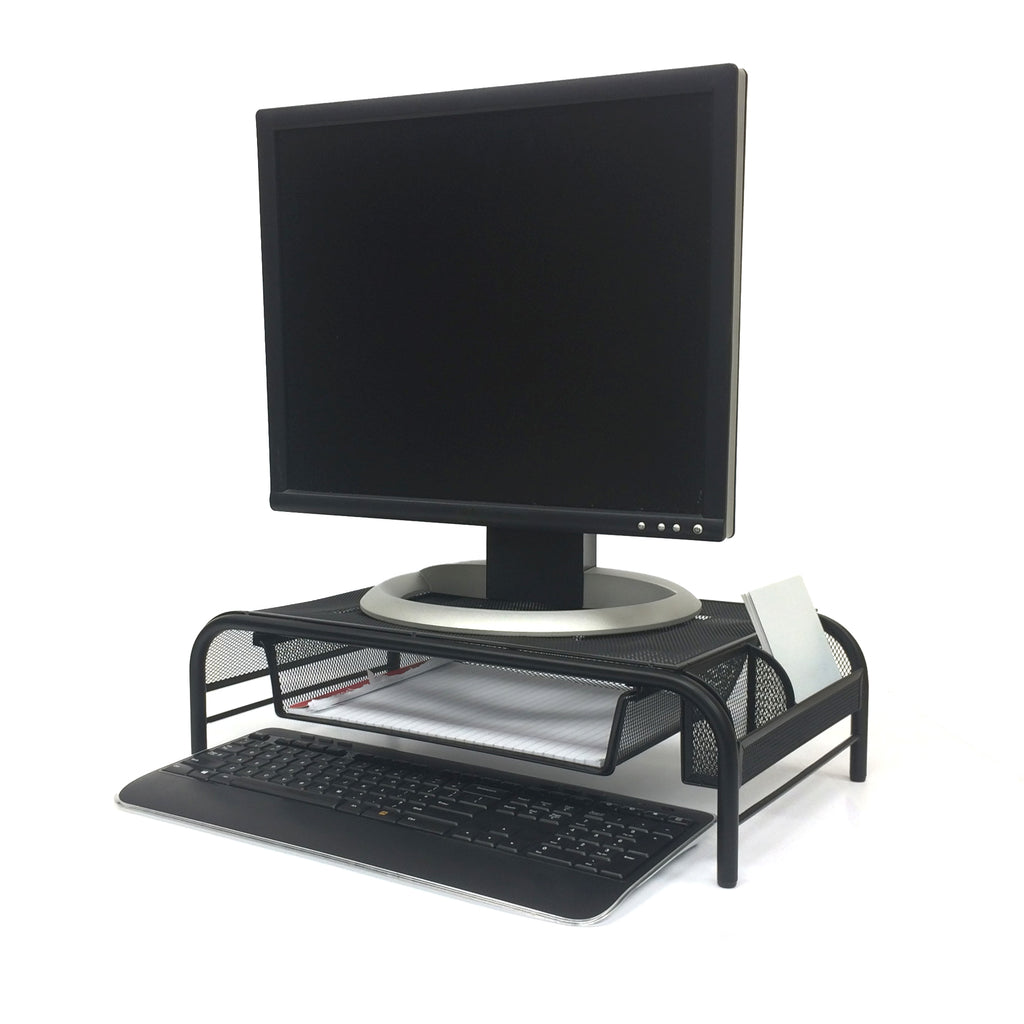 Mind Reader Metal Mesh Monitor Stand and Desk Organizer with Drawer