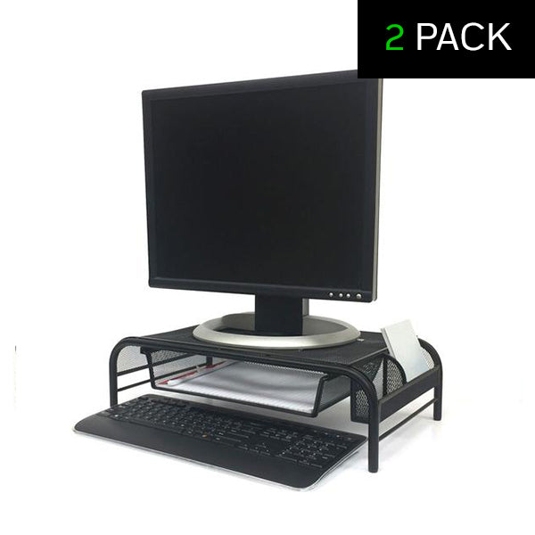 Mind Reader 3 Compartment Metal Mesh Monitor Stand and Desk Organizer With Drawer - 2 Pack