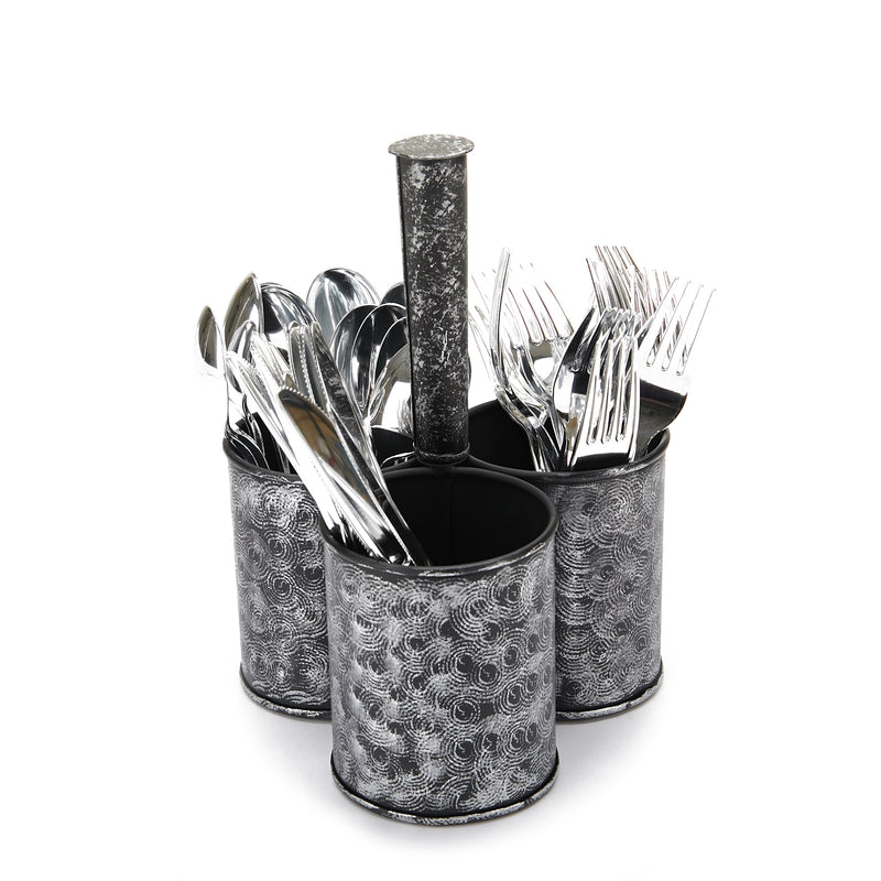 Mind Reader Print Galvanized 3 Section Utensil Holder, Cutlery Holder, Flatware, Silverware Organizer, Forks, Spoons, Knives, Utensil Caddy, Multi-Purpose Holder, Perfect for Silverware, Office Supplies, Black