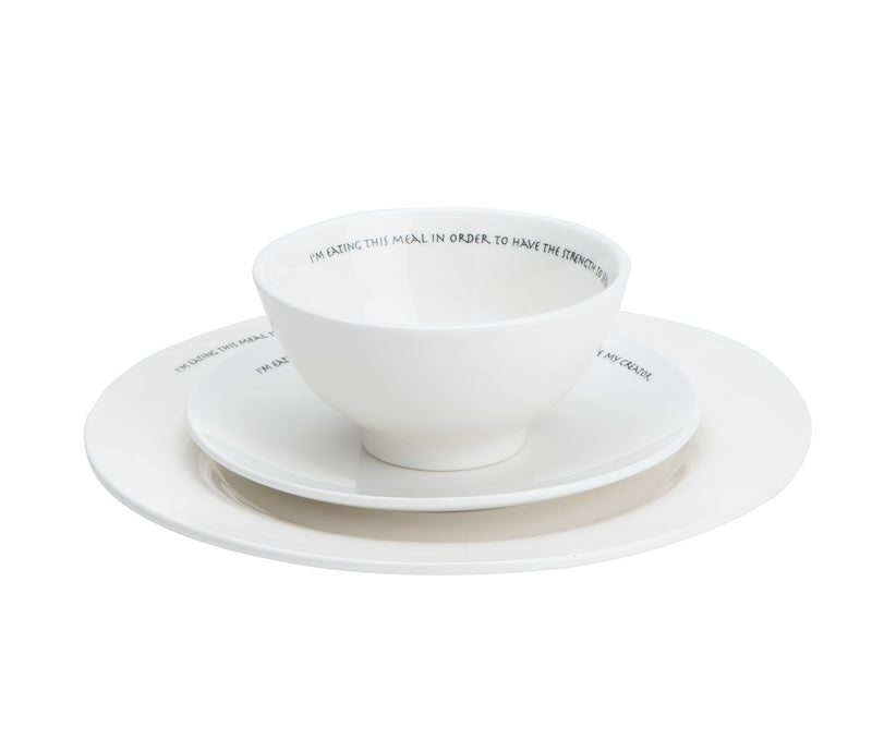 Set of 3 Religious Plates / Bowl, Comes with Large Dinner Plate, Medium Snack Plate, Small Soup or Salad Bowl, White