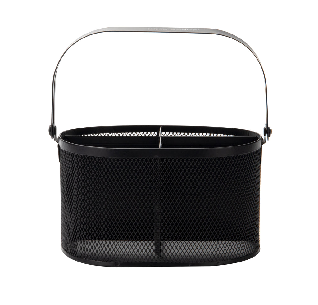 4-Section Oblong Steel Mesh Utensil Holder with Handle, Black