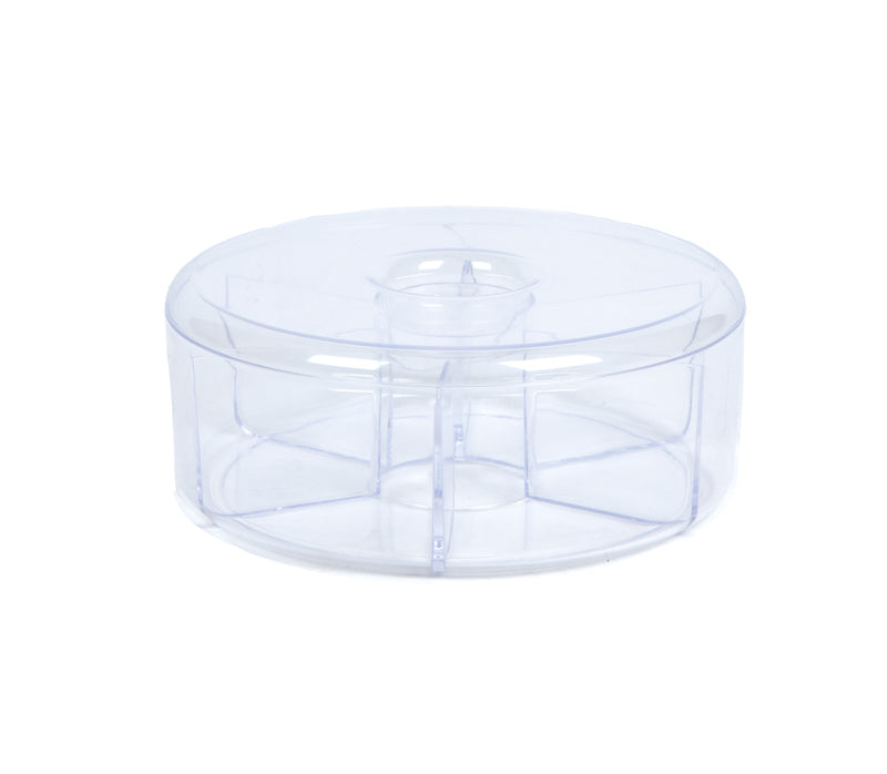Acrylic Tea Bag Storage & Organizer 6 Compartment Tea Bag Holder with Lid, Round Pantry Organizer for Kitchen,  Clear