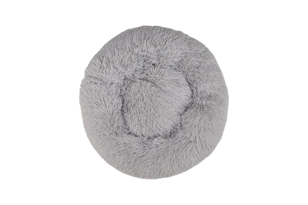 Mind Reader Faux Fur Donut Pet Bed, Grey