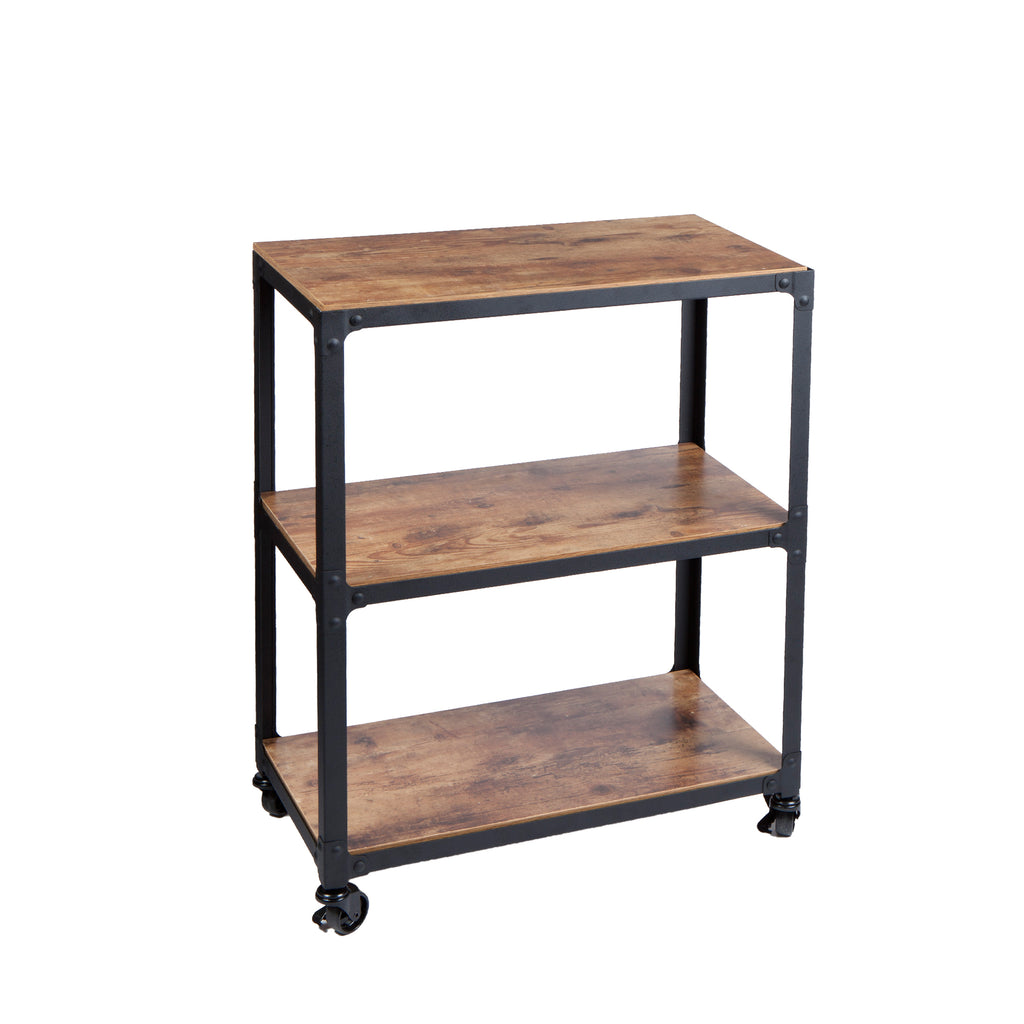 Mind Reader 3-Tier Wood Metal All Purpose Utility Cart