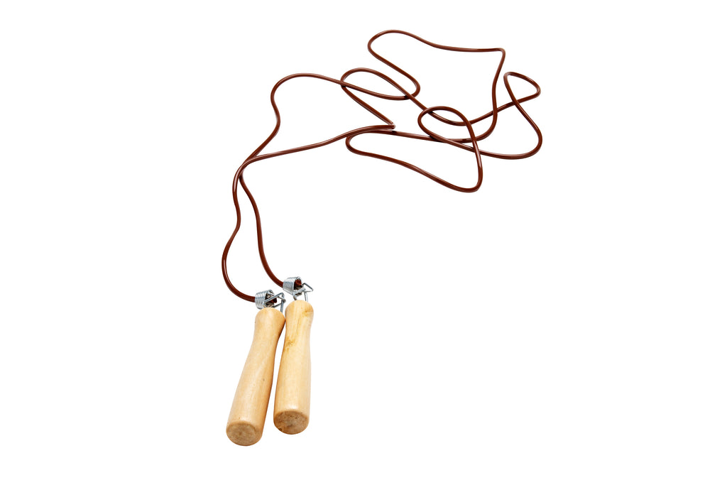 Spring Loaded Jump Rope with Wooden Handle