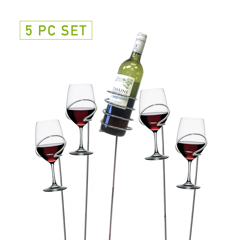 Metal 5 Piece Wine Bottle and Glass Holder Sticks Set, Silver