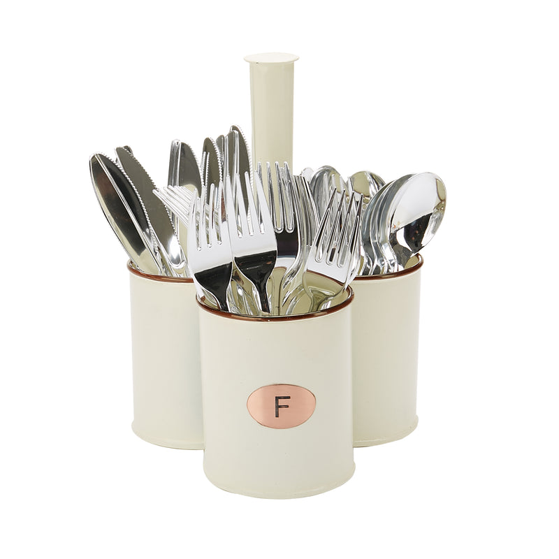 White Galvanized 3 Section Utensil Holder, Cutlery Holder, Flatware, Silverware Organizer, Forks, Spoons, Knives, Utensil Caddy, Multi-Purpose Holder, Perfect for Silverware, Office Supplies
