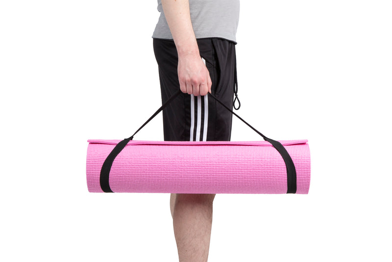 Mind Reader All Purpose Extra Thick Yoga Mat Fitness & Exercise Mats with Carrying Strap, High Density Anti-Tear