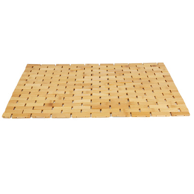 Bamboo Bath Mat [16.5 x 23.5 inches] Environmentally Friendly Shower Mats, Non-Slip, Mildew Resistant (Brown)