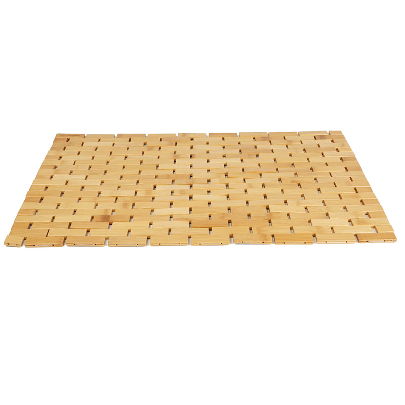 Mind Reader Bamboo Bath Mat [16.5 x 23.5 inches] Environmentally Friendly Shower Mats, Non-Slip, Mildew Resistant (Brown)