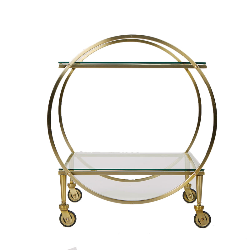 Mind Reader 2 Tier Bar Cart, Metal Cart with Glass Top