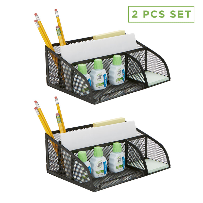 2-Piece Flat Mesh Desk Organizer, Black
