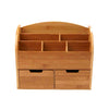 6 Compartment Desk Organizer with 2 Drawers, Brown