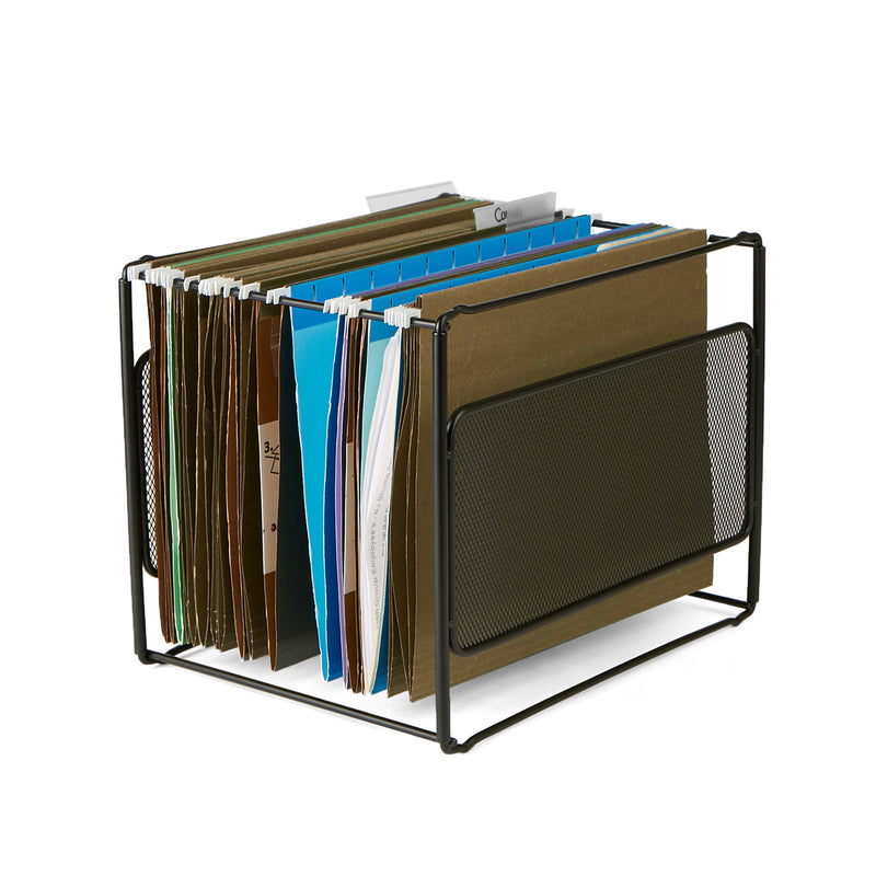 Desktop File Folder Organizer Box [75 File Folders] File Crate For Hanging Files and Mail, Black