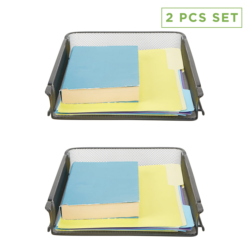 2 Piece Stackable Letter Tray, Front Load Storage Tray, Stackable Letter Legal Tray, Tray Mesh Desk Organizer, Document Holder, Magazine Storage, Desktop File Organizer