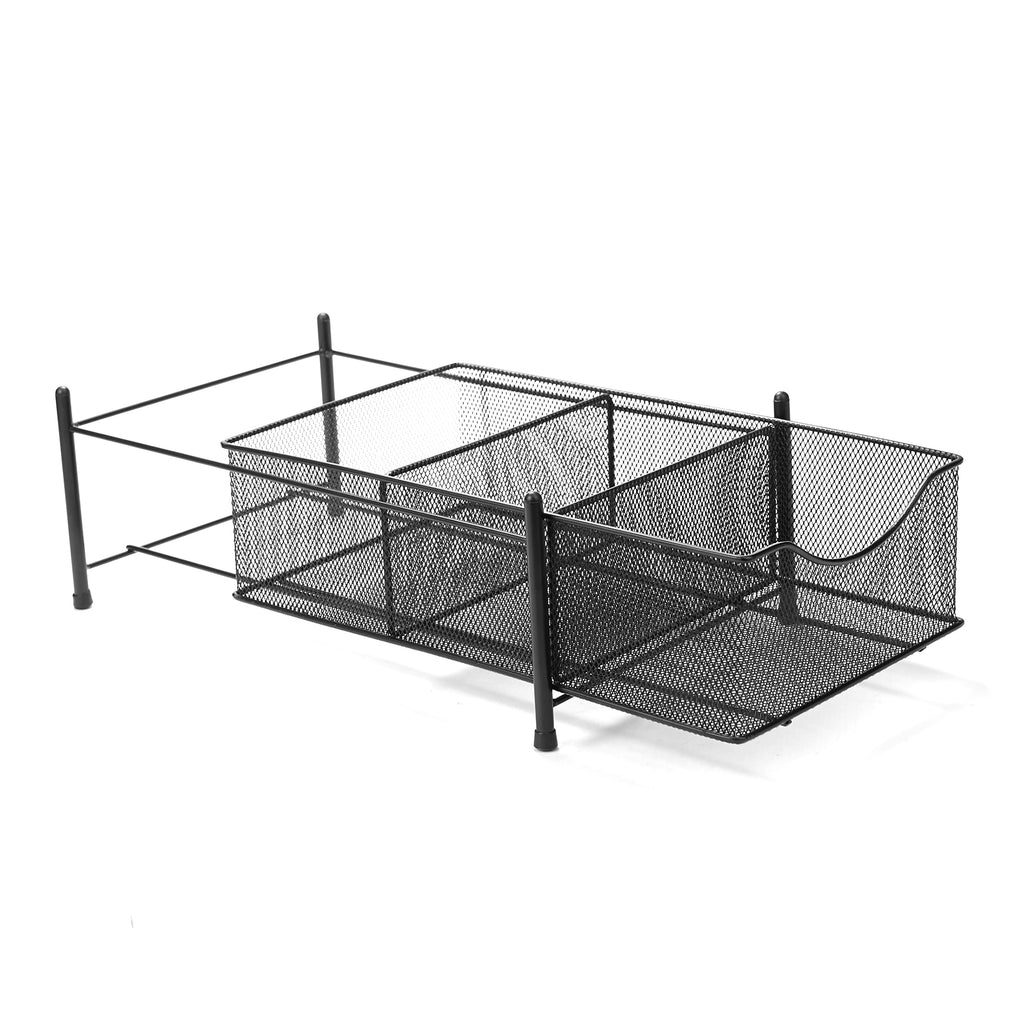 3 Compartment Metal Mesh Storage Baskets Organizer