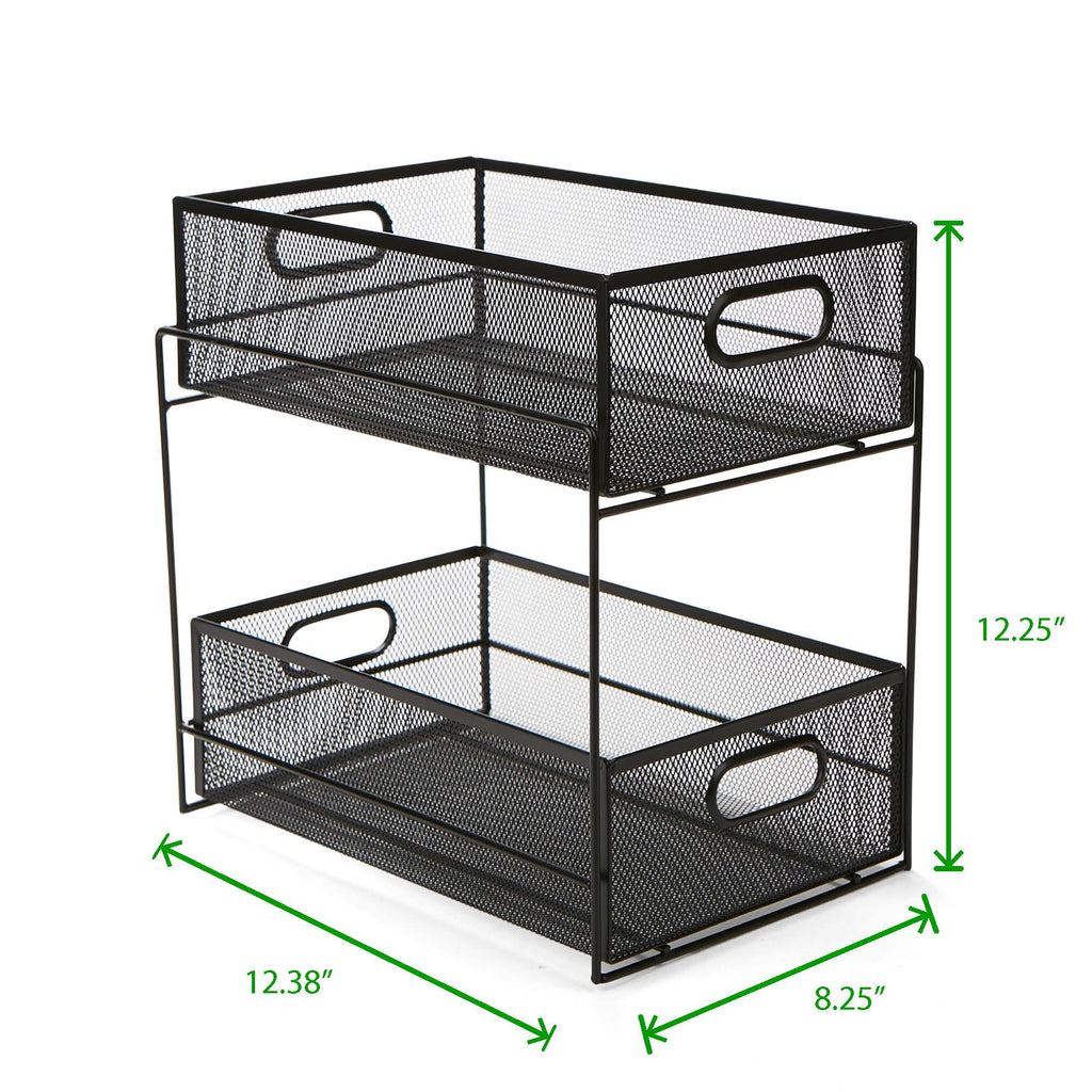 2 Tier Metal Mesh Storage Baskets Organizer