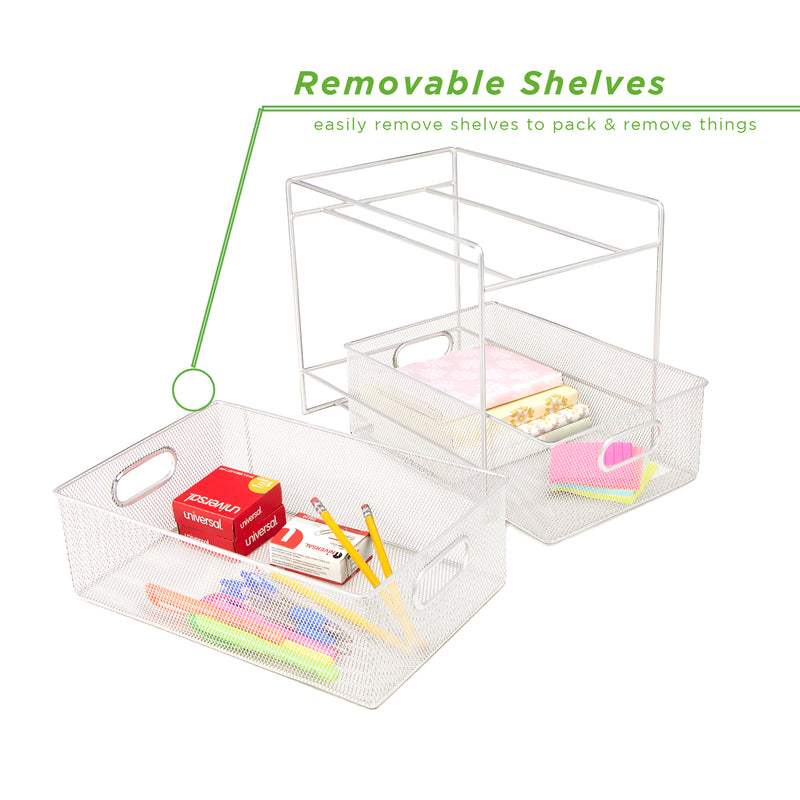 Mind Reader Metal Mesh Organizer Tiered Basket Drawer For Kitchen, Bathroom, Office Desk