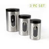 3 Piece Canister Set with Window, 1, 1.5, 2 Quart, Silver with Black