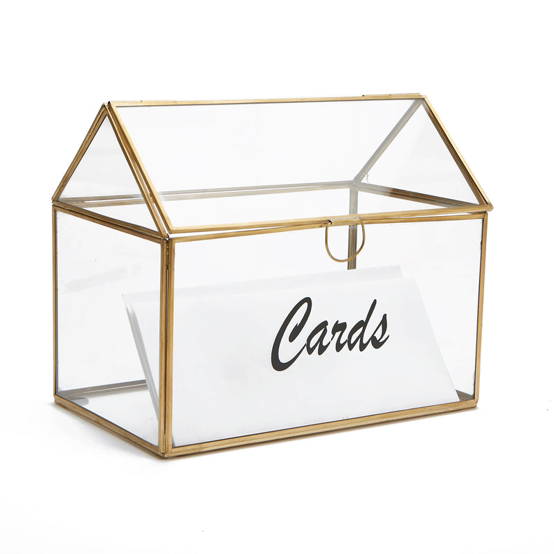 Mind Reader Card Holder Box, Wedding Card Clear Box, Invitation Cards, Graduation Cards, Birthday Cards, Gift Card Holder, Glass Card Box, Clear