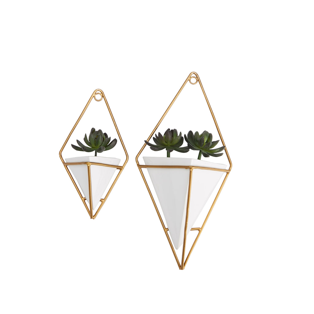 Mind Reader Ceramic Wall Planter with Gold Holder, Modem Hanging Planter Pots, Small Decorative Wall Planters, Geometric Wall Décor Container, Hanging Succulent Air Flower Vase, Gold - 2 pack