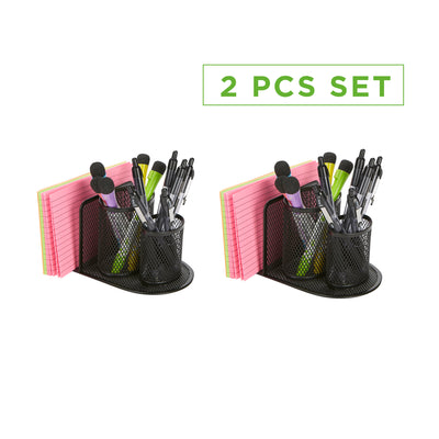 2-Piece Mesh Pencil Organizer, Pencil Cup Organizer, Pen, Pencil, Paperclip, Thumbtack Holder, Office Supplies Storage Organizer, Sticky Notes, Index Cards, Black