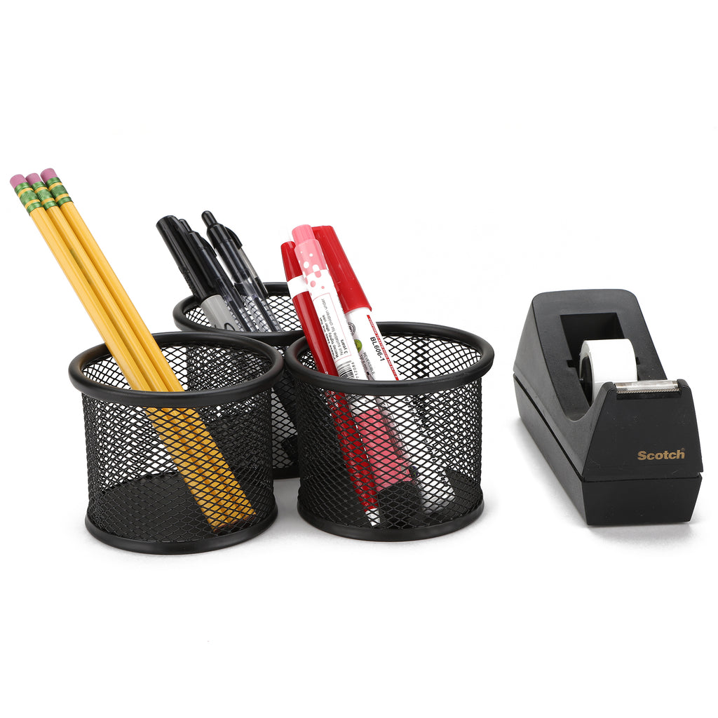 Mind Reader 3-Piece Desktop Mesh Desk Organizers, Black