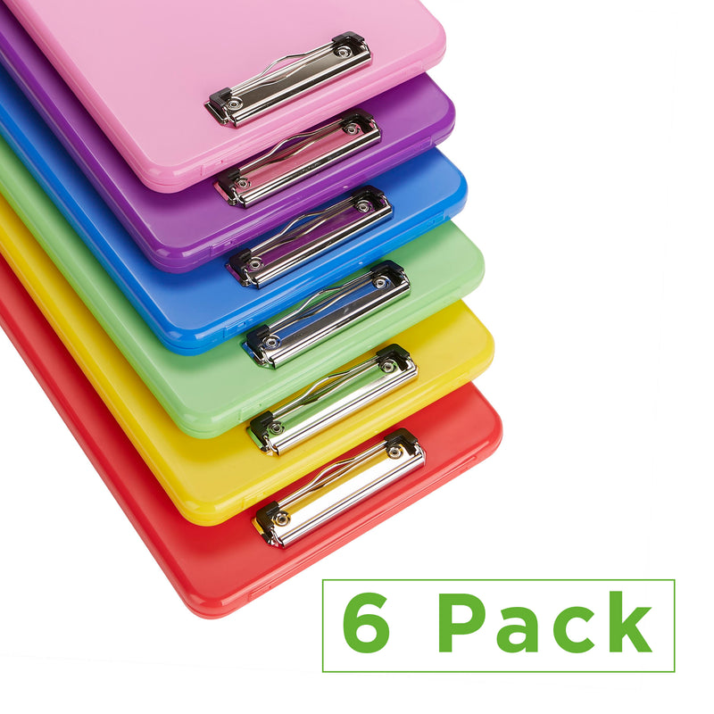 Mind Reader Multi-Pack Clipboards with Portfolio Storage [6-Pack], Plastic File Folder and Paper Organizer, Multi-Color