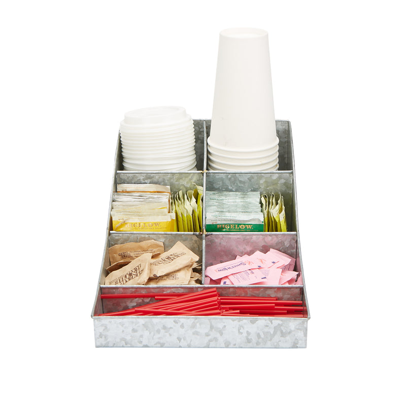 Mind Reader 7 compartment Galvanized Break Room Condiment Organizer, Coffee Accessory, Perfect Storage Bin for Coffee & Tea, Cups, Napkins, Lids, Sugar, Stirrers, Silver