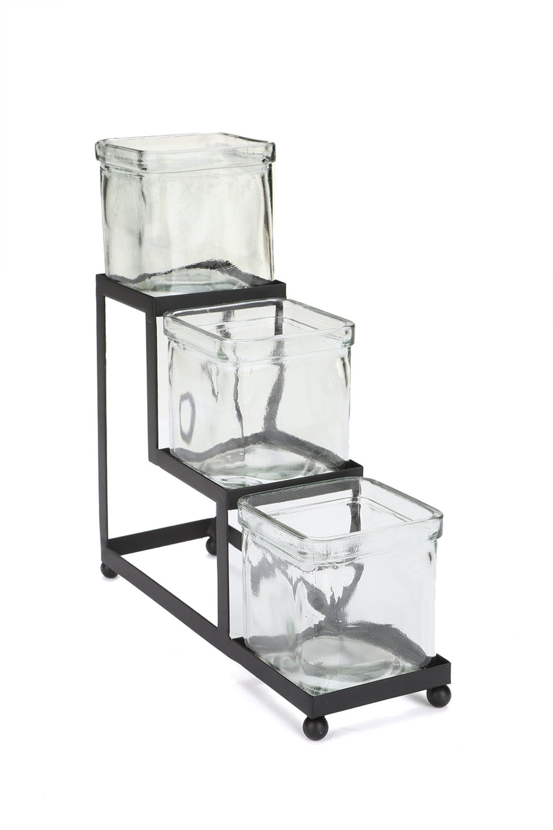 Mind Reader Tiered Condiment Server Jar Stand, Garnish Station for Restaurant, Bars, Removable Jars, Black