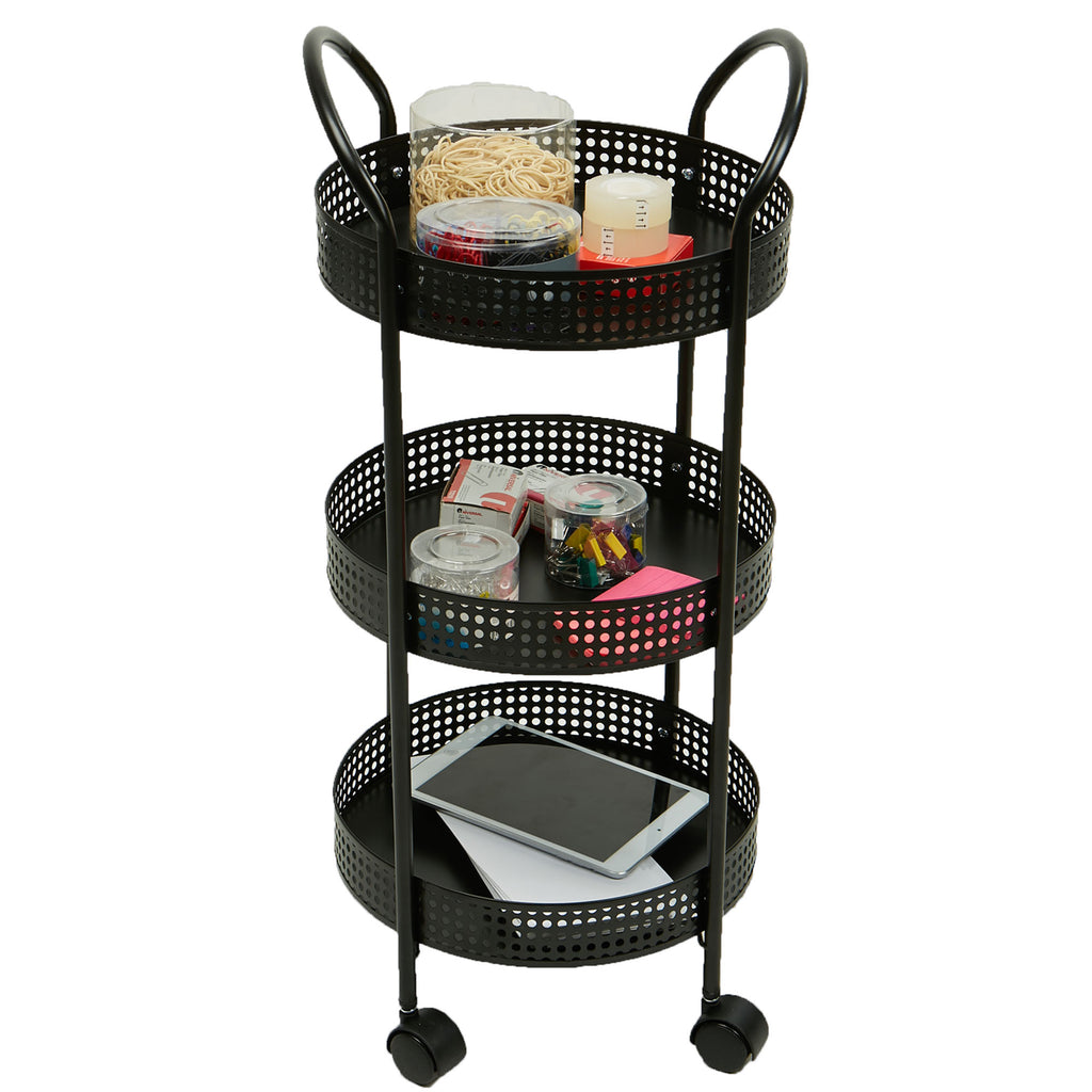 3-Tier Metal Multi-Purpose Utility Cart with Wheels, Kitchen Storage Cart, Office Cart, Crafts Cart, Black