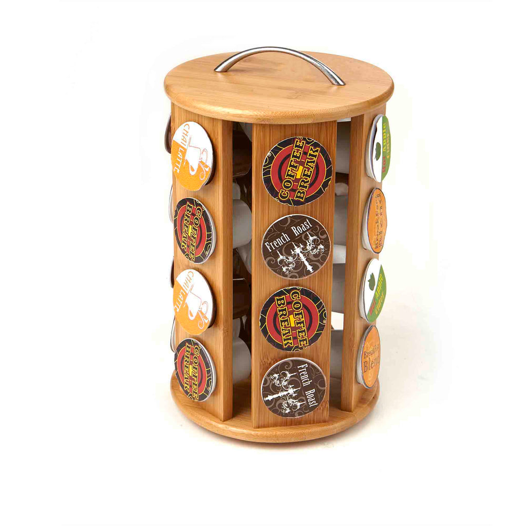 Bamboo 24 Capacity K-Cup Single Serve Coffee Pod Holder Carousel, Brown