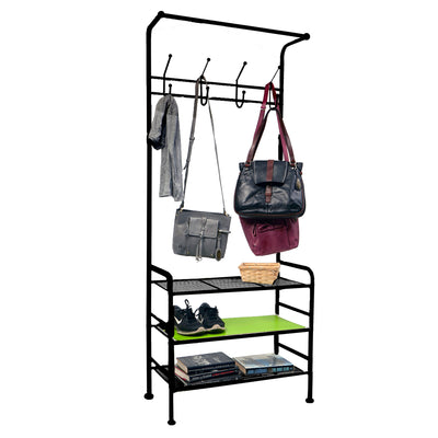 Metal Entryway Coat Rack For Shoes, Purses, Scarves, Shelving Organizer
