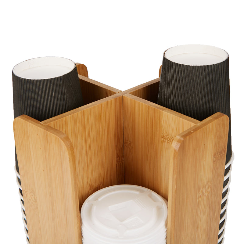 Cup and Lid Organizer Carousel, 4 Compartment, Bamboo Brown