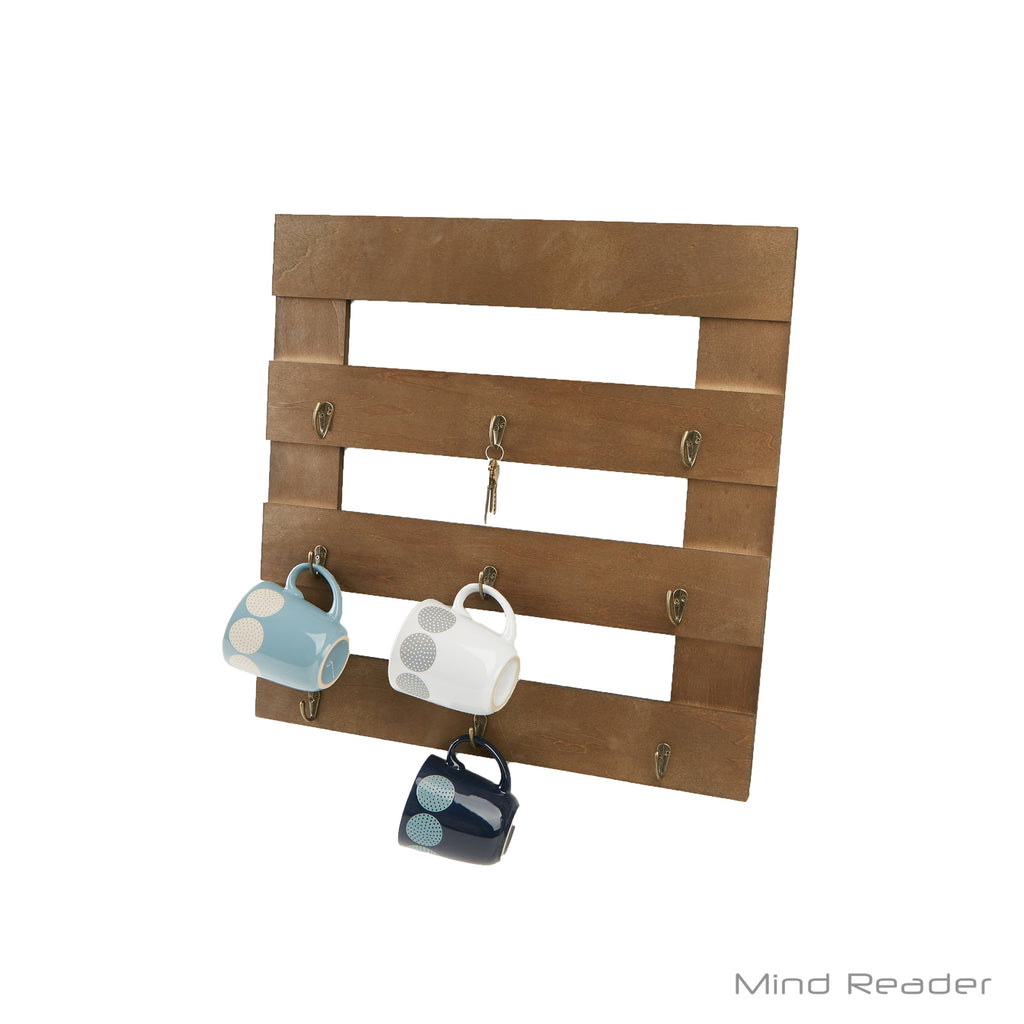 Mind Reader 9-Hook Coffee Cup Rack, Coffee Mug Storage Organizer, Brown