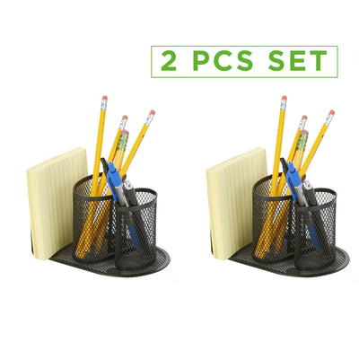 2 Pc Mesh Pencil Organizer, Pencil Cup Organizer, Pen, Pencil, Paperclip, Thumbtack Holder, Office Supplies Storage Organizer, Sticky Notes, Index Cards, Black