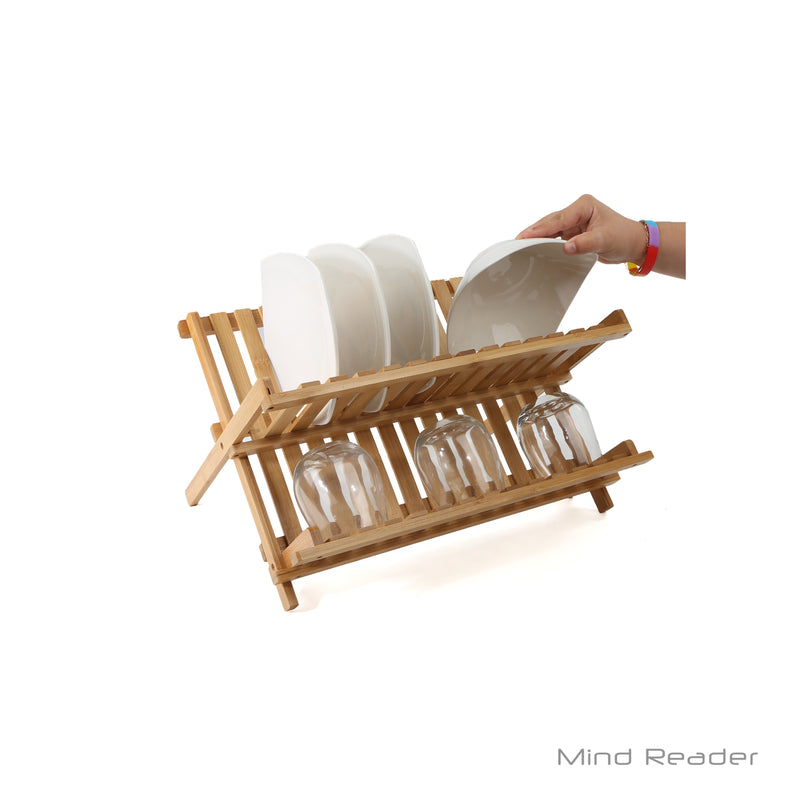 Mind Reader Wooden Dish Rack Plate Rack Collapsible Dish Drying Rack Bamboo Dish Drainer, Bamboo Brown