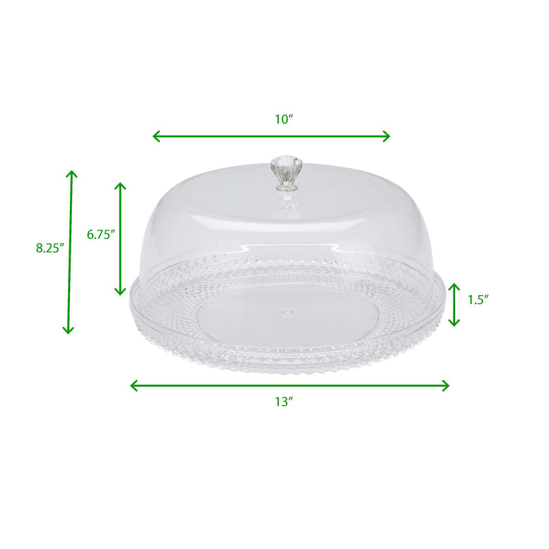 Mind Reader Diamond Acrylic Cake Holder with Cover, Cake Display, Dessert Display Tray, Cake Storage, Cupcake Storage, Clear