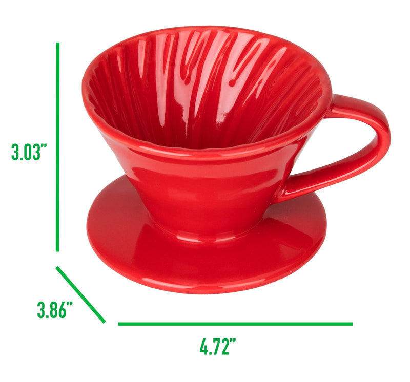 Ceramic Dripper, Pour-Over Coffee Maker with Spiral Ridge Walls, 1 Cup, Red