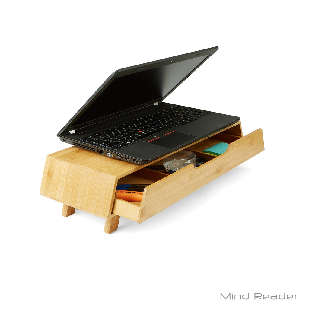 Monitor Stand, Monitor Riser with Pull Out Drawer for Computer, Laptop, Desk, iMac, Bamboo, Eco-Friendly, Brown