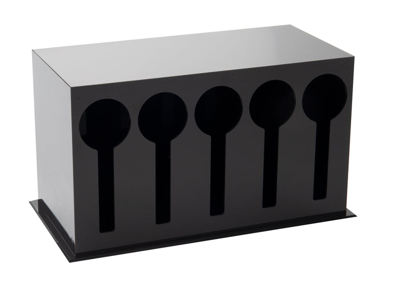 5 Compartment Plastic Utensil Dispenser, Cutlery Organizer, Plasticware Sorter for Restaurant, Diner, Picnics, Black