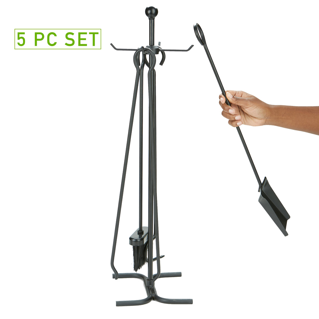 4 Piece Stand Alone Fire Place Set, Steel Construction, Includes Stand, Brush, Poker, Tongs, Shovel/Scooper, Black