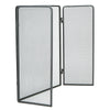 3 Panel Fire Place Screen Door Panel with Double Bar Black Finish, Black