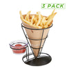 Mind Reader French Fry Cone Holder, French Fry Stand Cone with Dip Compartment, Cone Basket Holder, Finger Food Cones, Perfect for French Fries, Potato Wedges, Ice Cream & More, Black - 3 Pack