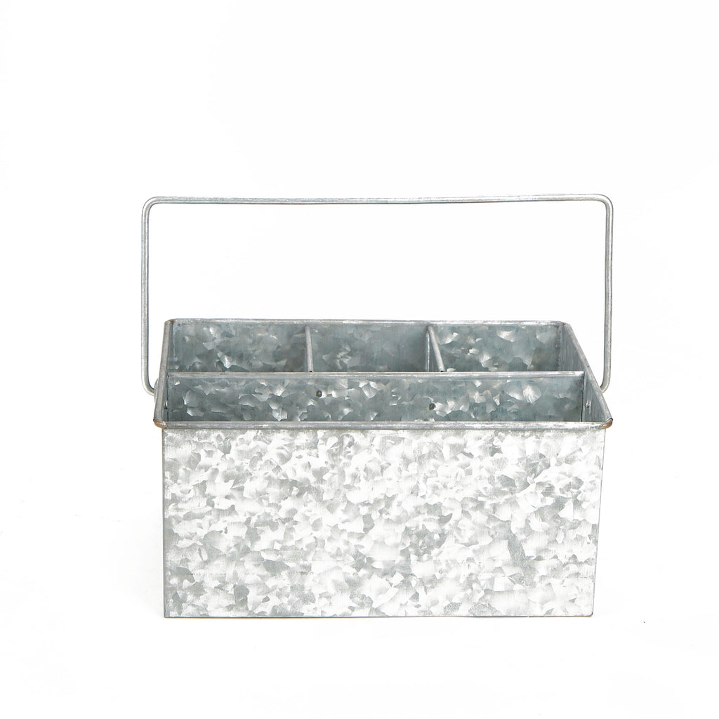 Galvanized Steel Countertop Utensil Caddy Holder, Silver