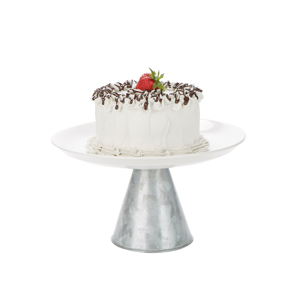 Ceramic & Galvanized Cake Stand, Party Cake Display, Cupcake Stand Holder, Dessert Display Tray, Silver