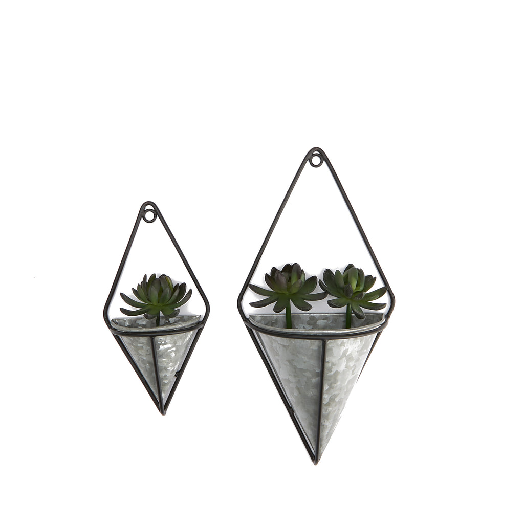 Galvanized Wall Planter with Black Holder, Modem Hanging Planter Pots, Small Decorative Wall Planters, Geometric Wall Décor Container, Hanging Succulent Air Flower Vase, Black - 2 pack
