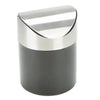 Mini Counterop Trash Can with Lid, Small Desk Recycling Trash Bin Kitchen Desktop Bathroom Office Wastebasket 1.5 L / 0.40 Gal, Black/Silver
