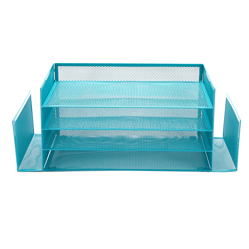 Desk Organizer with 6 Compartments [4 Trays and 2 Side File Holders ] For Pen, Pencil, Mail, Magazines and Office Accessories (Turquoise)